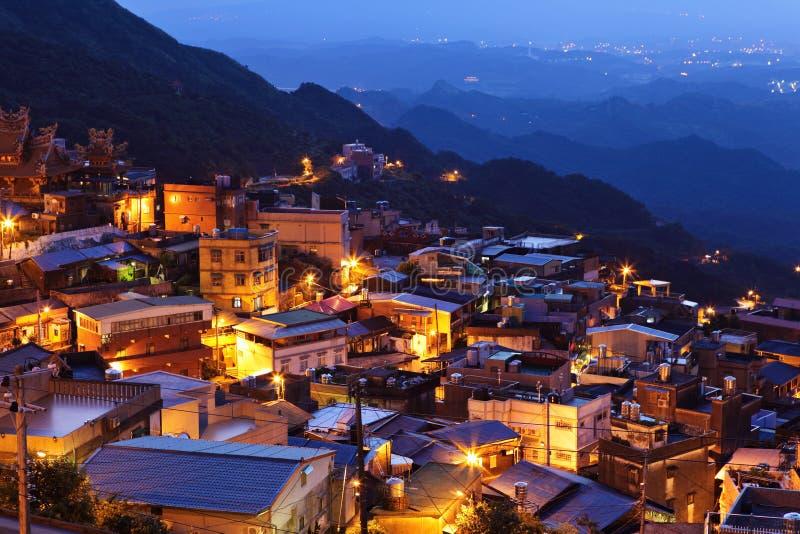 Jiu fen village at night. In Taiwan royalty free stock image