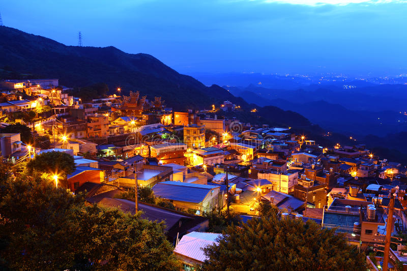 Jiu Fen Village At Night, Stock Image