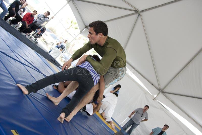 Jiu Jitsu. LOS ANGELES - SEPT 25: Villa Park Jiu-Jitsu teaching self defense to kids at Little Tokyo's Cherry Blossom Festival on September 25, 2011 in Los stock photos