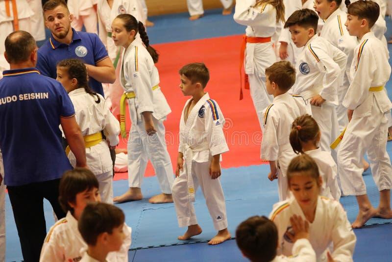 Jiu Jitsu fighter waiting, ready for training. Jiu Jitsu junior student in Kimono on tatami. Jiu-Jitsu Romanian Championship took place in Constanta, Sala royalty free stock photography