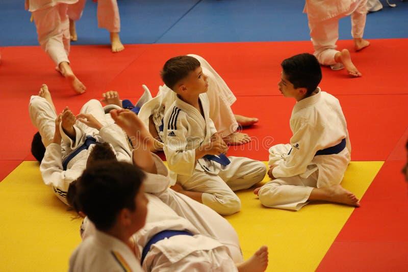 Jiu Jitsu fighter waiting, ready for training. Jiu Jitsu junior student in Kimono on tatami. Jiu-Jitsu Romanian Championship took place in Constanta, Sala stock photos