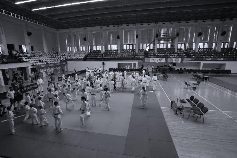 Jiu Jitsu fighters at Romanian Championship, Juniors, May 2018. Jiu Jitsu students in Kimono on tatami. Jiu-Jitsu Romanian Championship took place in Constanta stock photos