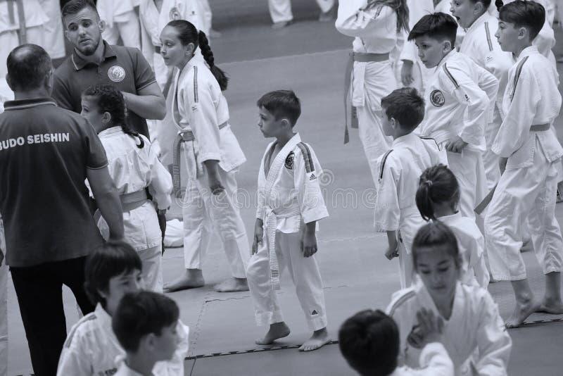 Jiu Jitsu junior fighting at Romanian Championship, Juniors, May 2018. Jiu Jitsu students in Kimono on tatami. Jiu-Jitsu Romanian Championship took place in stock image