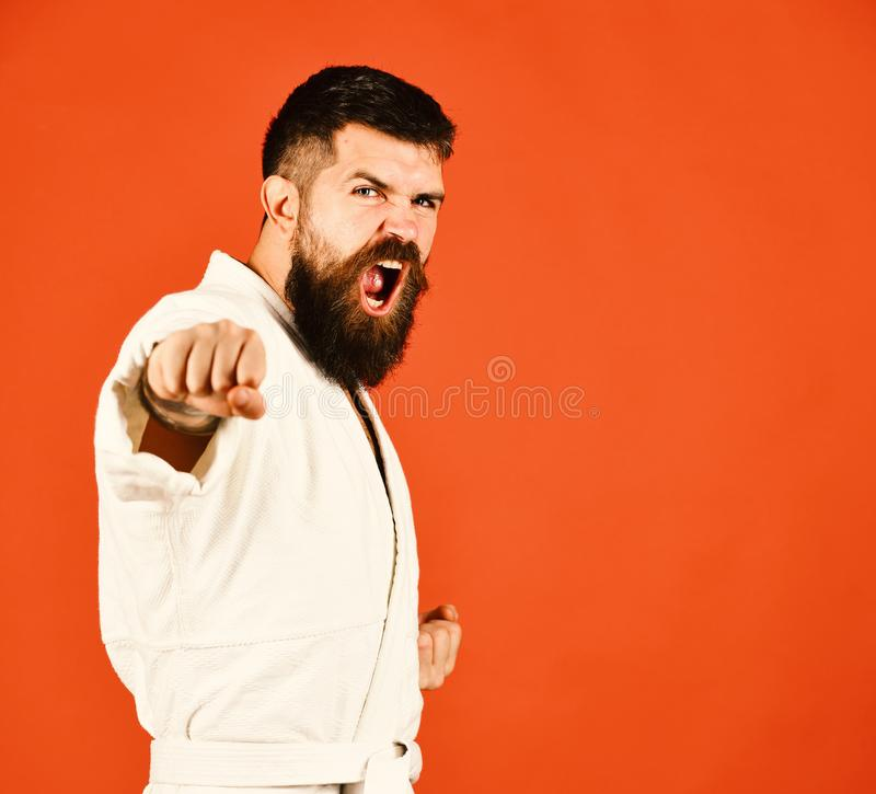 Jiu Jitsu master practices attack or defense posture. With fists forward. Healthy lifestyle and sports concept. Man with beard in white kimono on red background royalty free stock photos