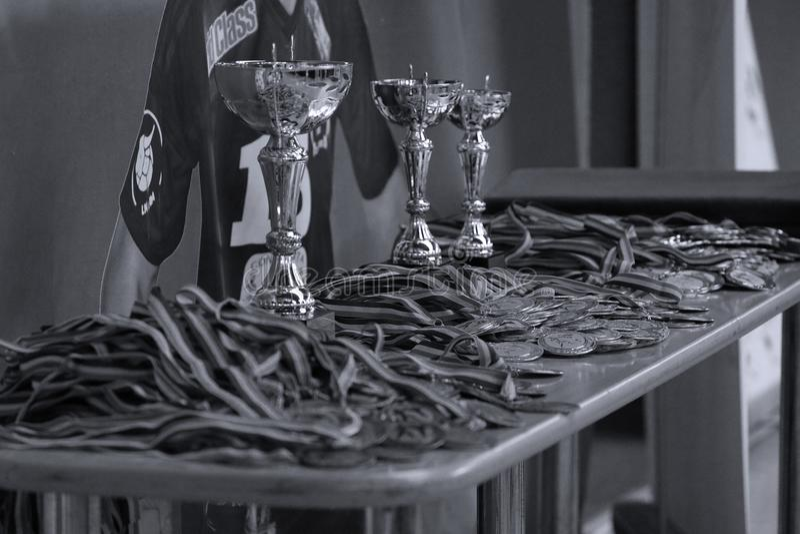 Jiu Jitsu medals and trophy at Romanian Championship, Juniors, May 2018. Jiu Jitsu medals and trophies. Jiu-Jitsu Romanian Championship took place in Constanta royalty free stock photography