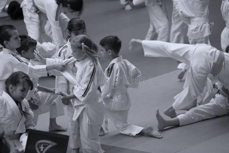 Jiu Jitsu junior fighters at Romanian Championship, Juniors, May 2018. Jiu Jitsu students in Kimono on tatami. Jiu-Jitsu Romanian Championship took place in royalty free stock photography