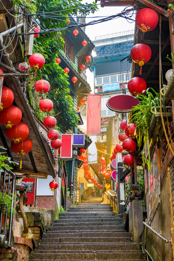 Jiufen,台湾巷道 图库摄影