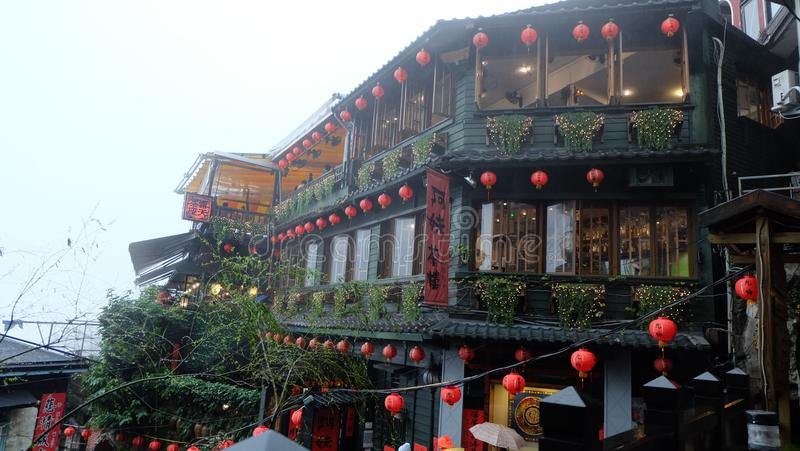 Jiufen landmark in Taiwan. Jiufen is a mountain town in northeastern Taiwan, east of Taipei. It's known for the narrow alleyways of its old town, packed royalty free stock image