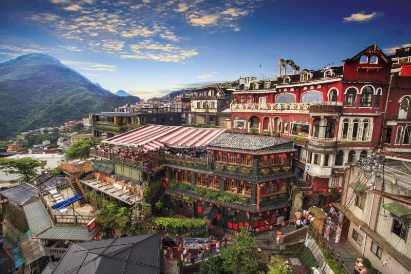 Jiufen Taipei, Taiwan Betydelsen av den kinesiska texten i pet arkivfoton