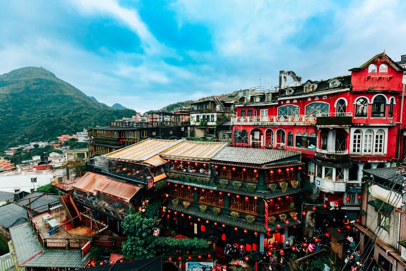 Jiufen Teahouse Landscape in Taiwan royalty free stock photo