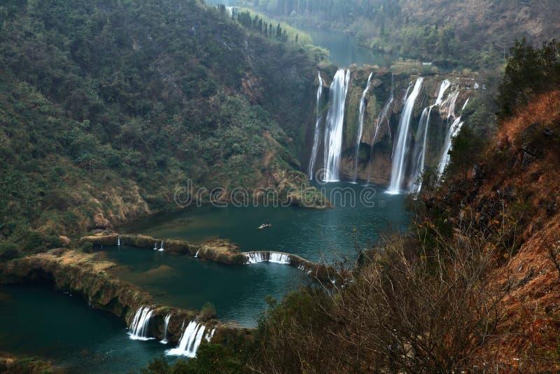 jiulong luoping的瀑布 库存图片