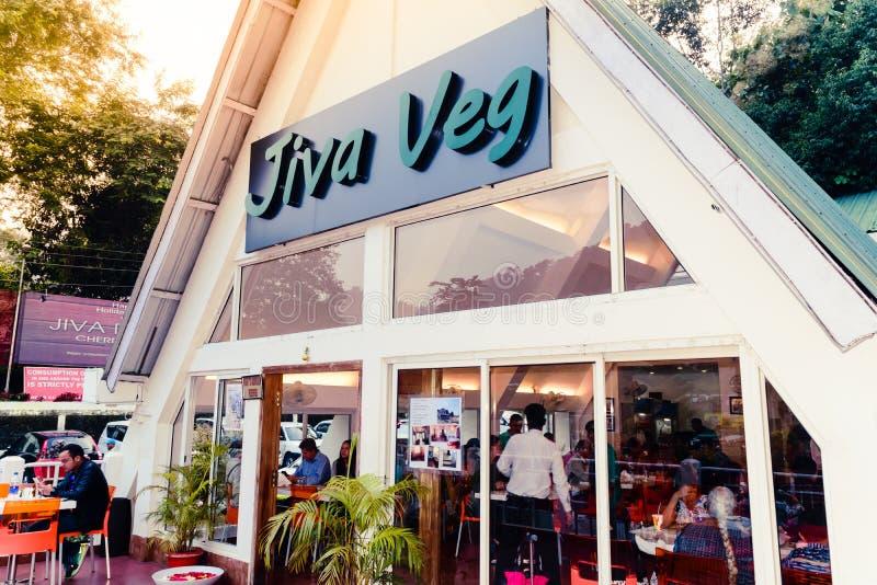 Jiva Veg餐馆,cherrapunjee,梅加拉亚邦,印度28 Decenber 2018年-外部Jiva Veg餐馆看法  r 免版税图库摄影