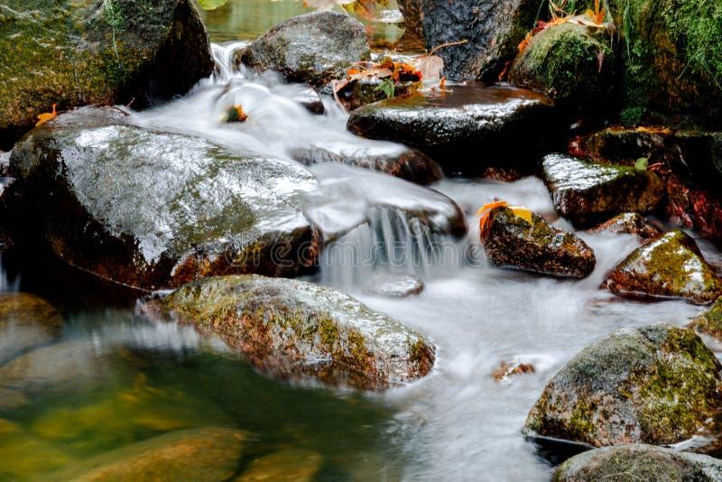 Jizerskeberg, Kamenice-rivier, Tsjechische Republiek royalty-vrije stock afbeelding