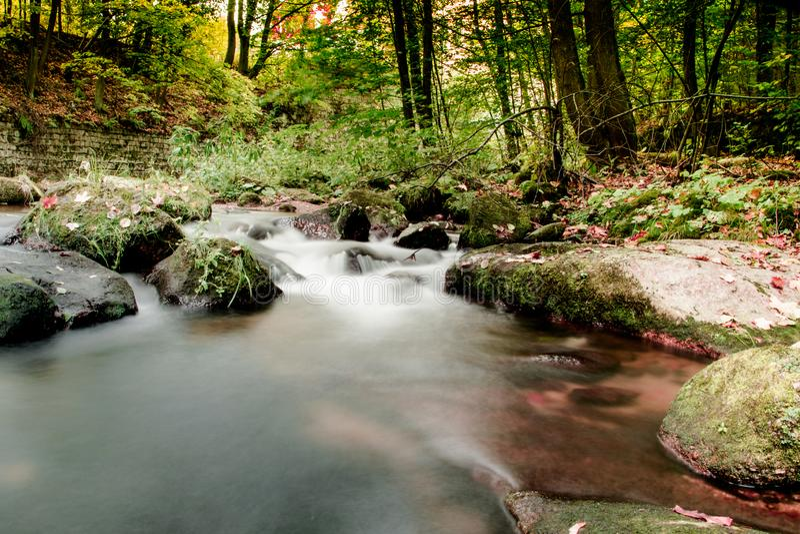 Jizerskeberg, Kamenice-rivier, Tsjechische Republiek royalty-vrije stock foto's