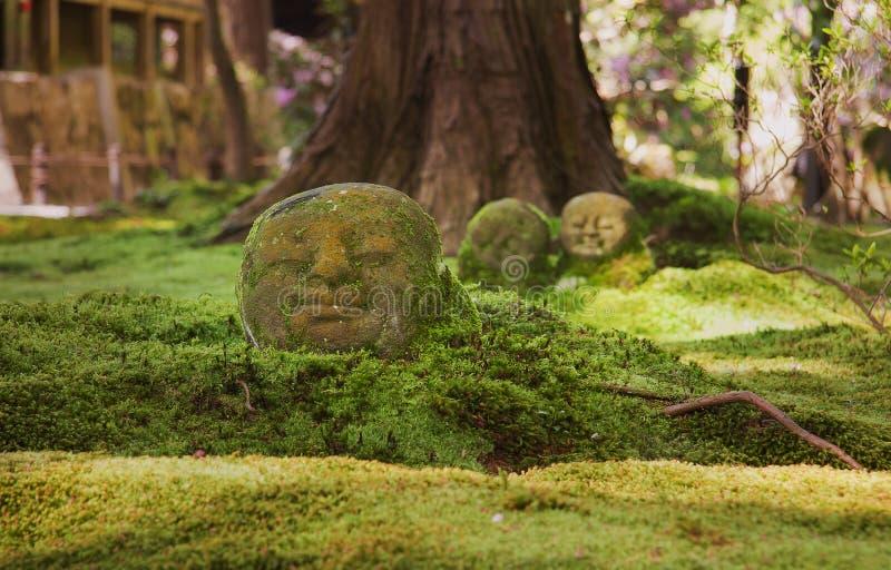 Jizo возглавляет в мхе в буддийском виске стоковые изображения rf