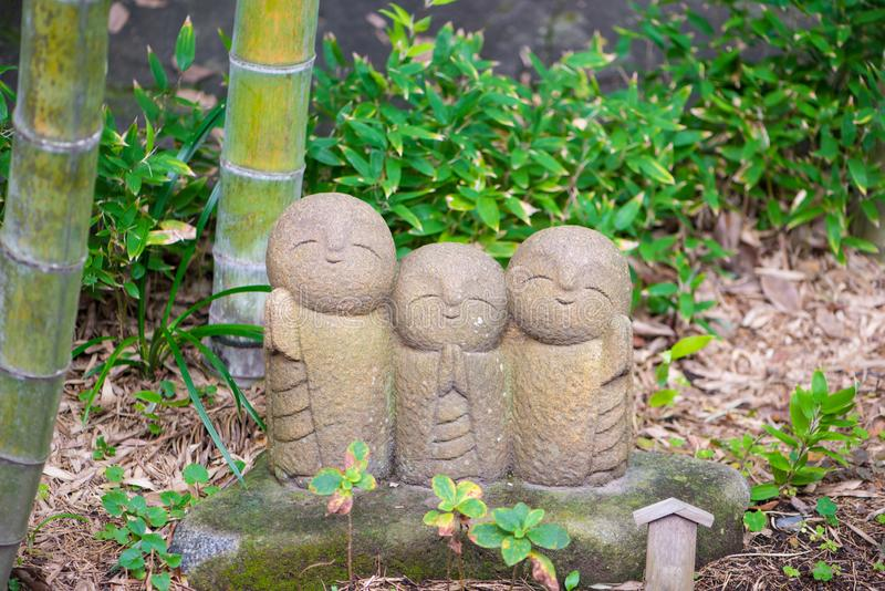 Jizo chibi, the guardian of children. From the Japanese Garden of the Hasedera Temple at Kamakura,Japan royalty free stock image