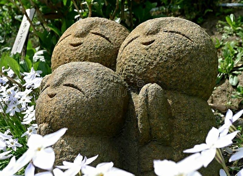 Jizo in garden. Nagomi jizo at Hase-dera temple in Kamakura, Japan stock photo