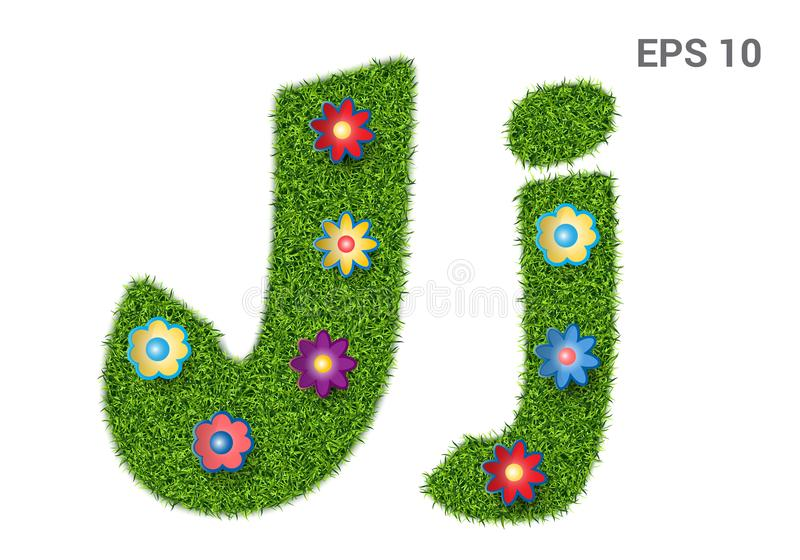 Letter Jj with a texture of grass and flowers. Jj - capital and capital letters of the alphabet with a texture of grass. Moorish lawn with flowers. Isolated on royalty free illustration
