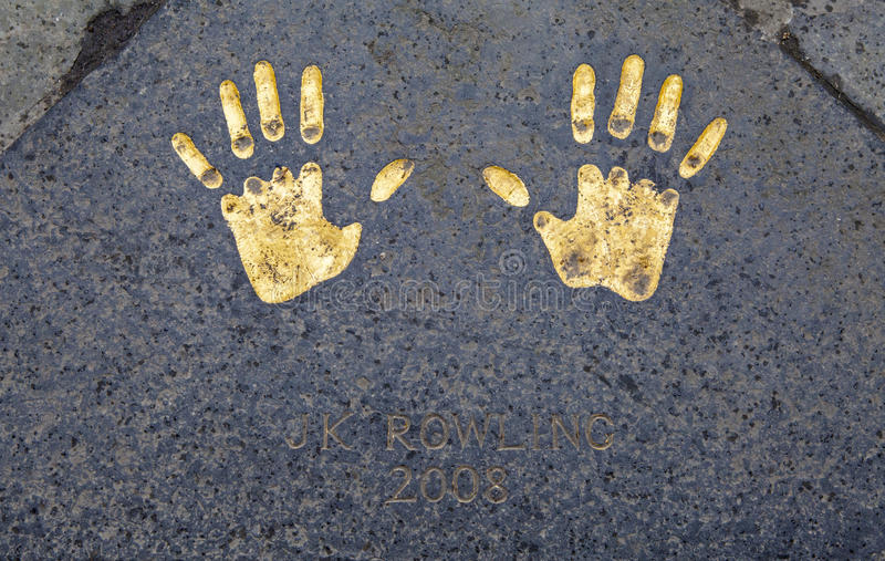 JK Rowling Hand Print at the City Chambers in Edinburgh. The hand-print of famous author JK Rowling at the City Chambers in Edinburgh, Scotland stock photography