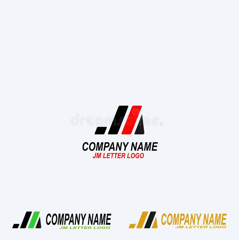 JM märker idérik design för logo royaltyfri illustrationer