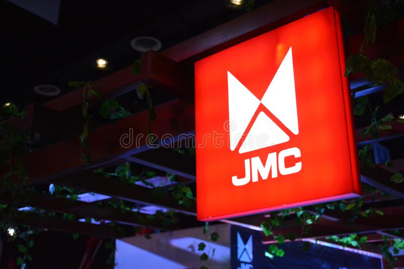 JMC exhibit booth signage. PASAY, PH - AUG. 17: JMC truck exhibit booth signage on August 17, 2018 at Transport and Logistics in World Trade Center Metro Manila stock images