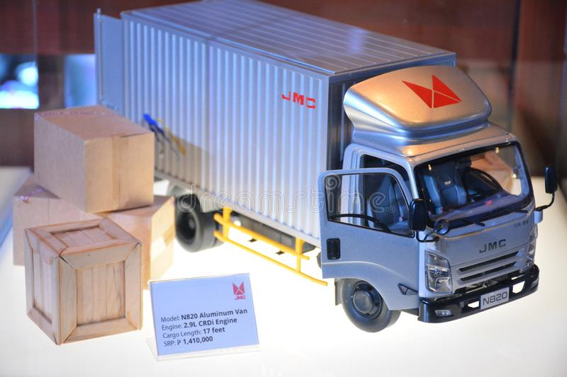 JMC N820 aluminum van scale model. PASAY, PH - AUG. 17: JMC N820 aluminum van scale model on August 17, 2018 at Transport and Logistics in World Trade Center royalty free stock photography
