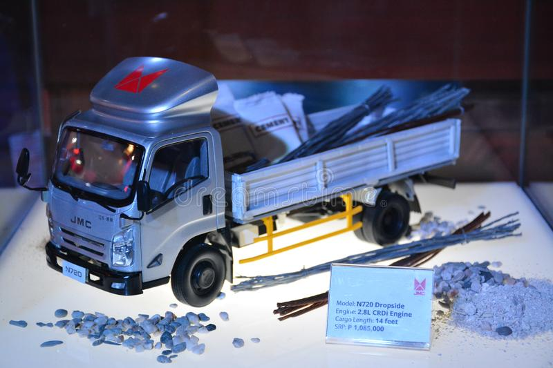 JMC N720 dropside truck scale model. PASAY, PH - AUG. 17: JMC N720 dropside scale model truck on August 17, 2018 at Transport and Logistics in World Trade Center royalty free stock photography