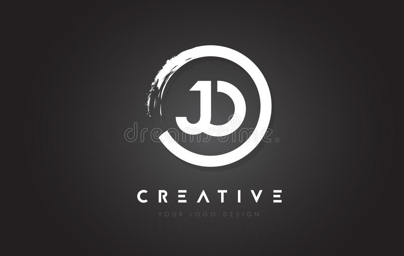 JO Circular Letter Logo with Circle Brush Design and Black Background. vector illustration