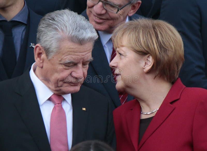 Joachim Gauck, Angela Merkel fotografia stock