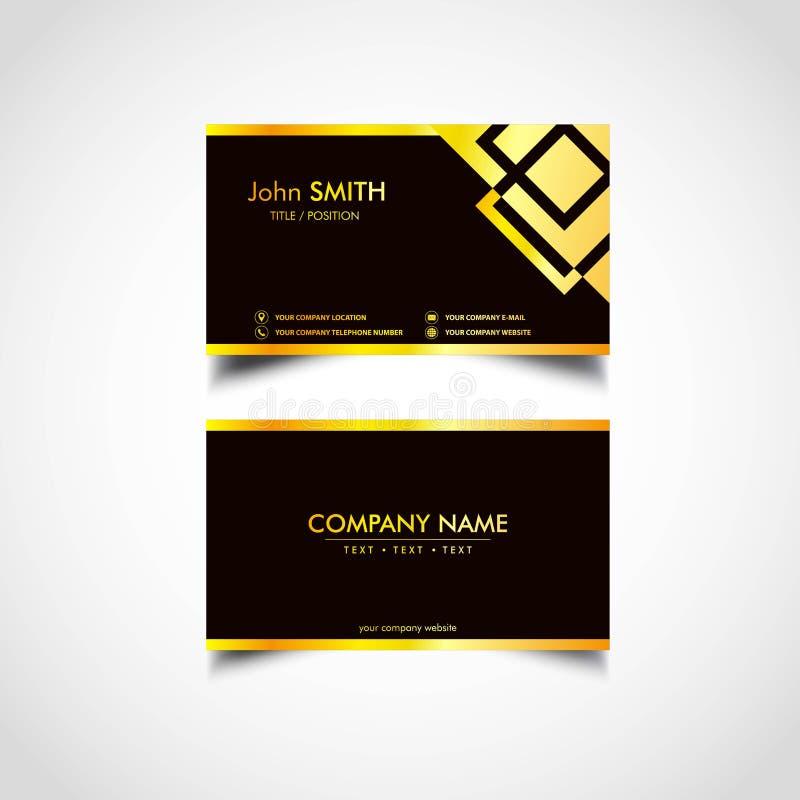 Joalheiro luxuoso dourado Business Card Templates, vetor, ilustração ilustração do vetor