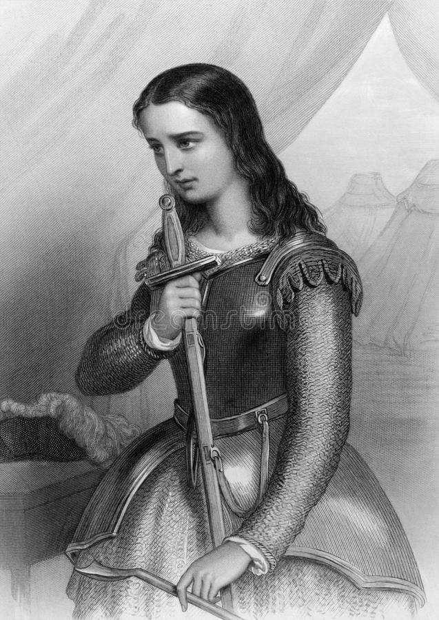 Joan of Arc. (1412-1431) on engraving from 1858. Folk heroine of France and a Roman Catholic saint. Engraved by W.H.Mote and published in World Noted Women'' vector illustration