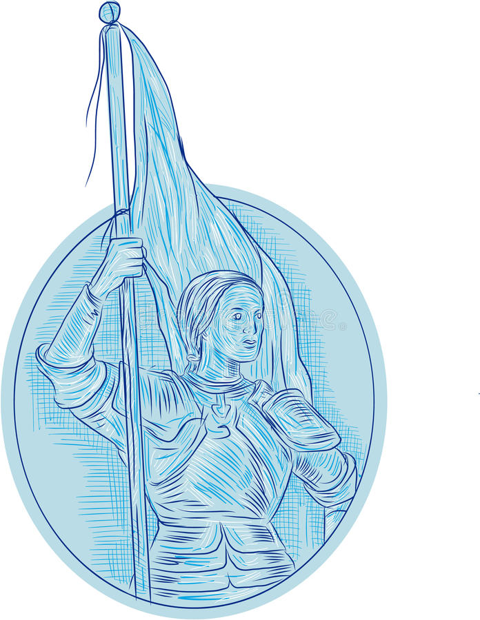 Joan of Arc Holding Flag Oval Drawing stock illustration