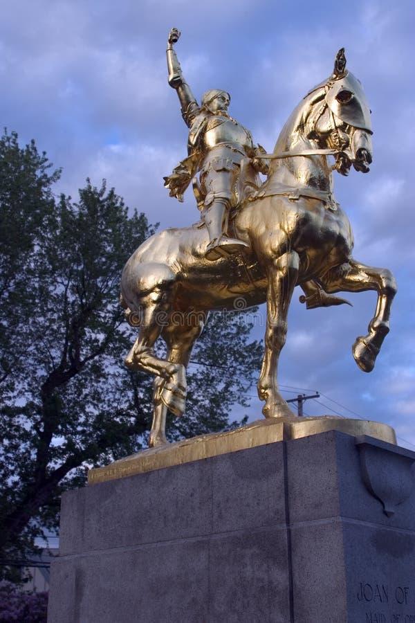 Joan of Arc statue in Laurelhust, Portland, Oregon. stock photos