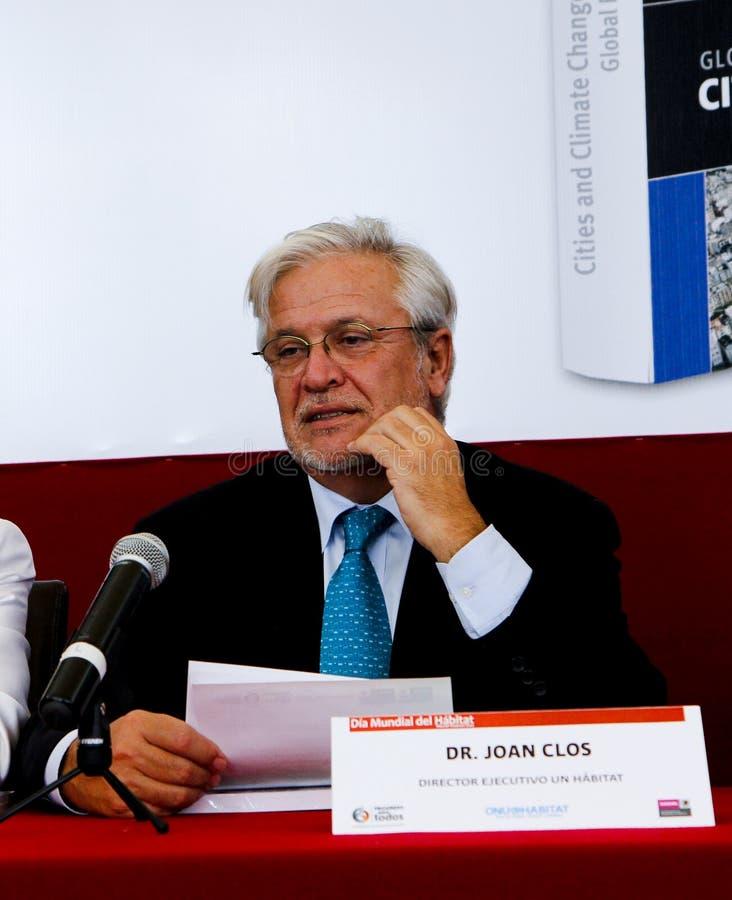 Joan Clos, Geschäftsführer des UNO-Lebensraums stockbild