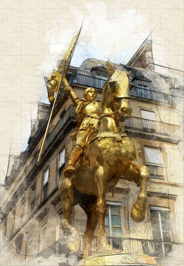 Joan dell'arco a Parigi illustrazione vettoriale