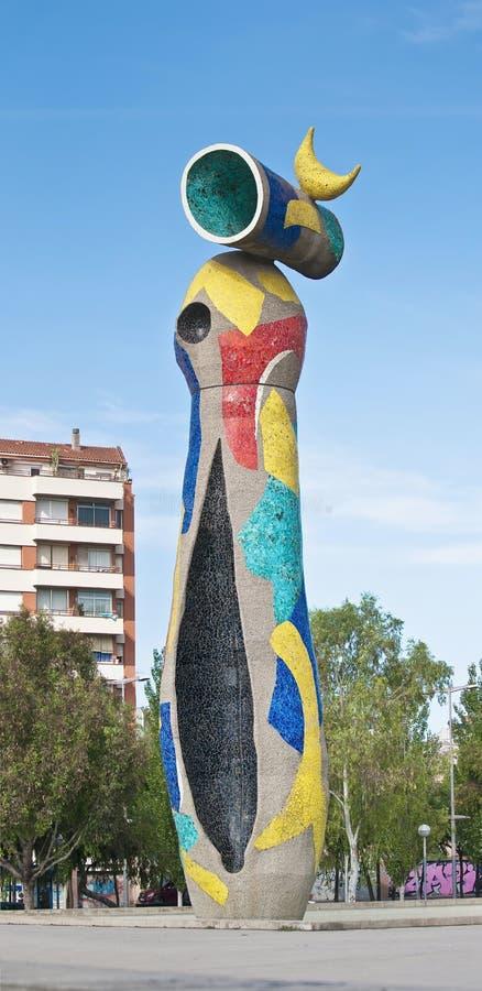 Joan Miro Mujer y Pajaro in Barcelona, Spanien stockfoto