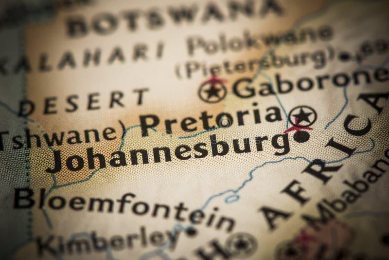 Joanesburgo no mapa imagens de stock royalty free