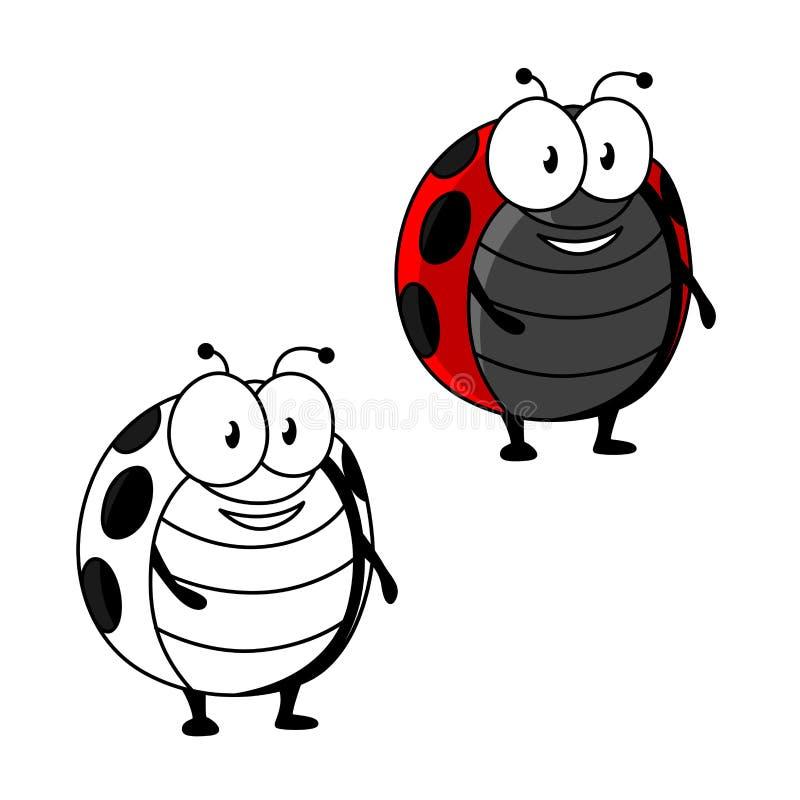 Joaninha dos desenhos animados ou inseto manchado vermelho do joaninha ilustração stock