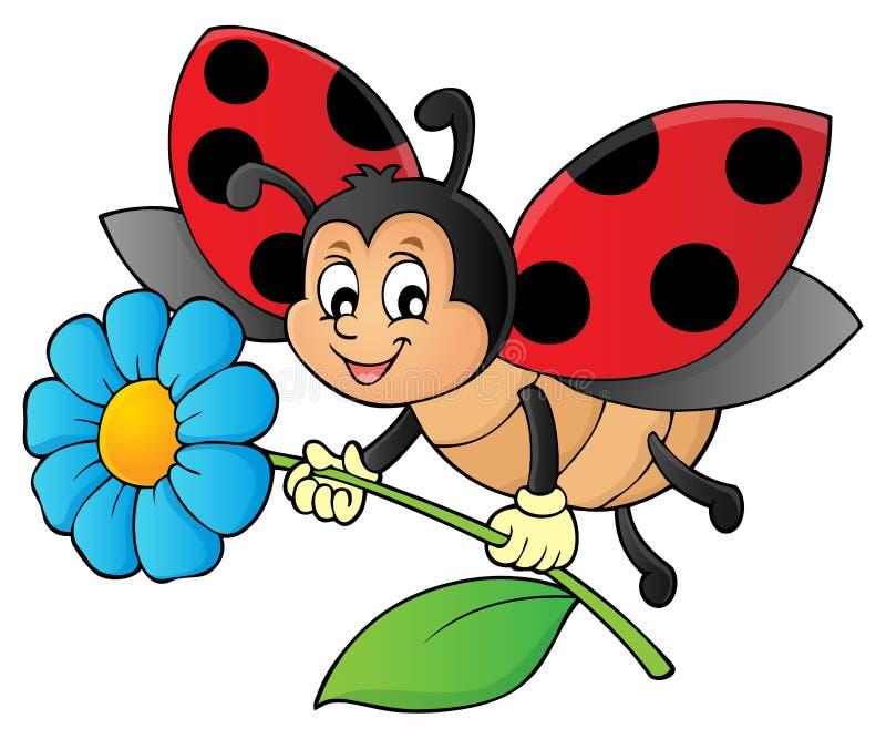 Joaninha que guarda a imagem 1 do tema da flor ilustração do vetor