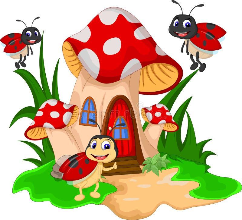 Joaninhas dos desenhos animados no cogumelo ilustração stock