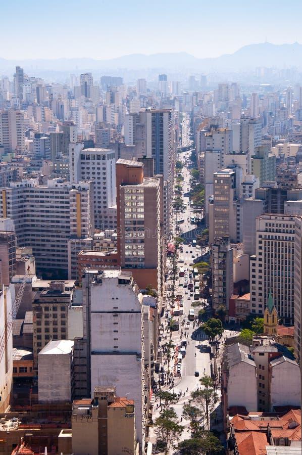 Joao do sao da avenida na cidade de Sao Paulo imagem de stock royalty free