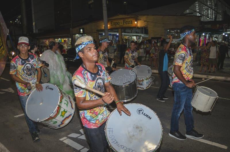 Pre-carnival at Joao Pessoa, Brazil. Joao Pessoa - PB, Brazil - February 20, 2019: People on street celebrating the pre-carnival at Tambau, Almirante Tamandare royalty free stock photos