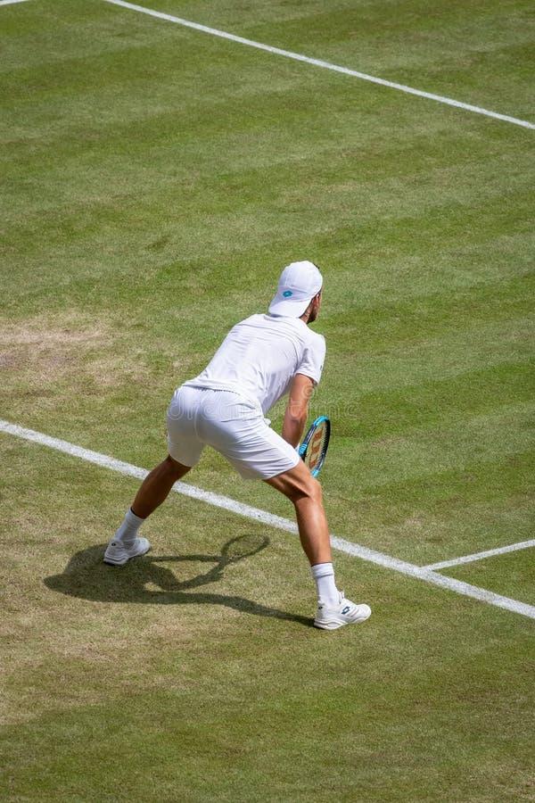 Joao Sousa på Wimbledon arkivbilder