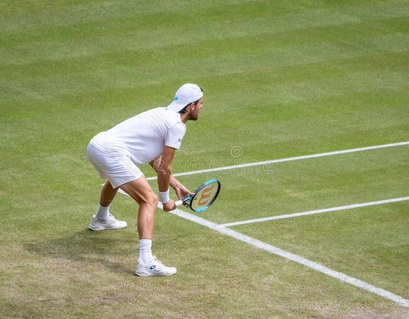 Joao Sousa przy Wimbledon obraz royalty free