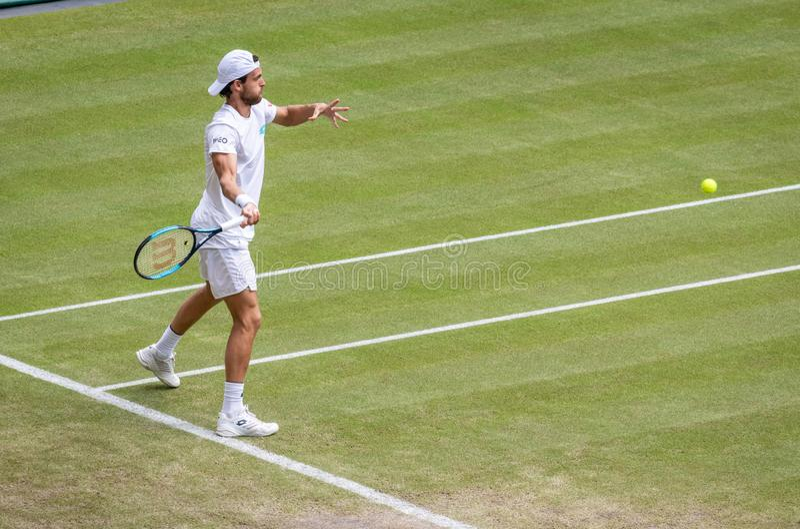 Joao Sousa przy Wimbledon fotografia stock
