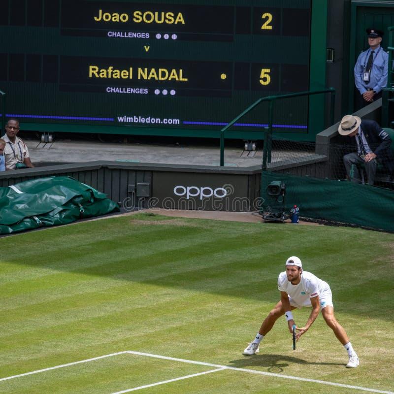 Joao Sousa przy Wimbledon zdjęcie royalty free