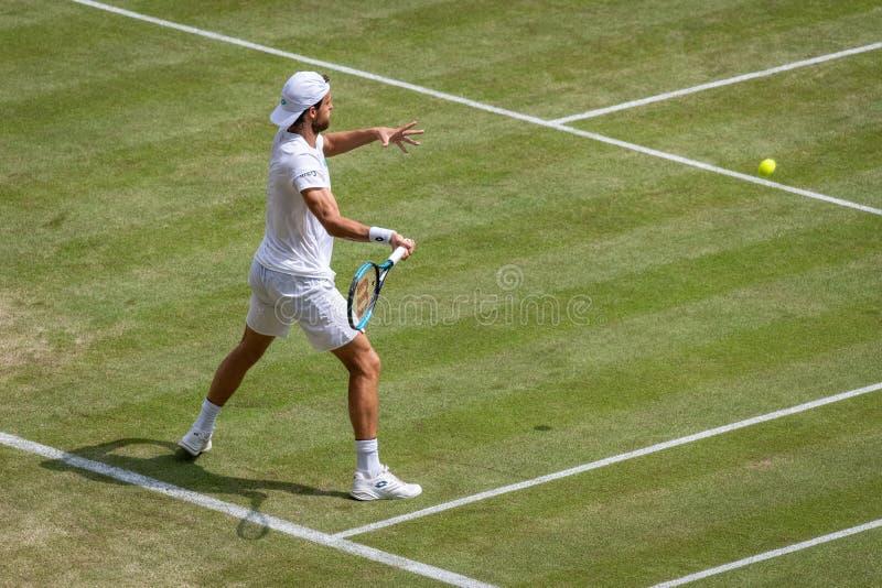 Joao Sousa przy Wimbledon zdjęcia stock