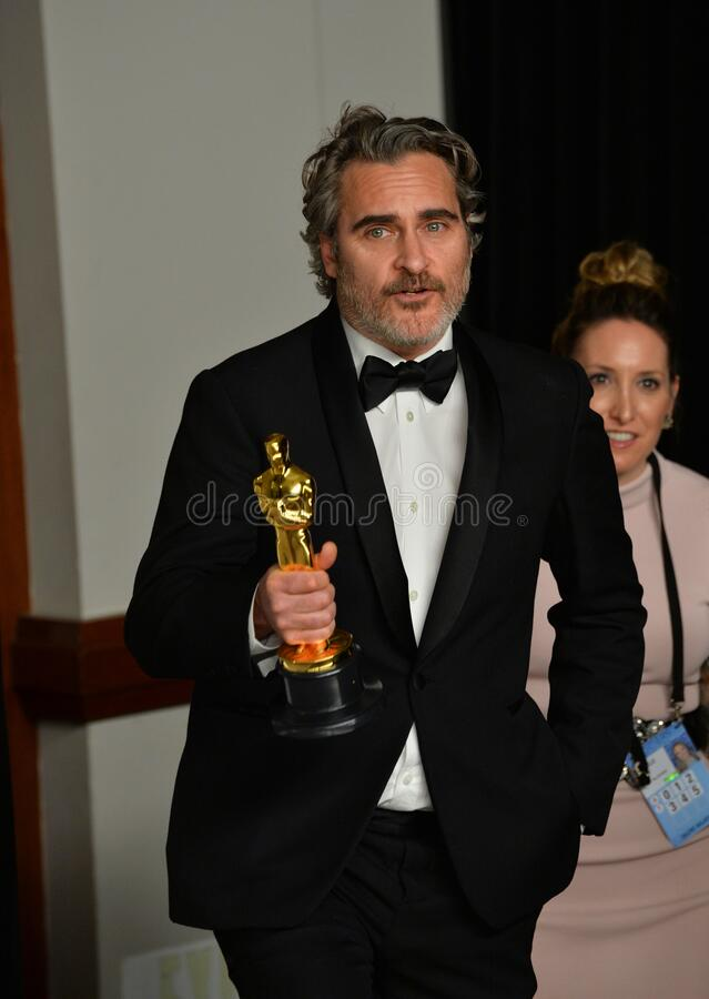 Joaquin Phoenix. LOS ANGELES, USA. February 09, 2020: Joaquin Phoenix at the 92nd Academy Awards at the Dolby Theatre..Picture: Paul Smith/Featureflash royalty free stock images