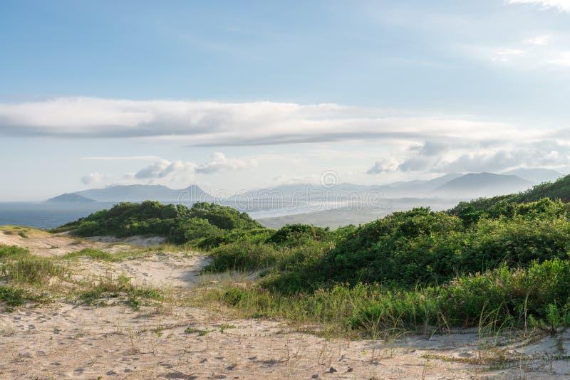 Joaquina beach in Florianopolis, Santa Catarina, Brazil. One of the main tourists destination in south region royalty free stock photography