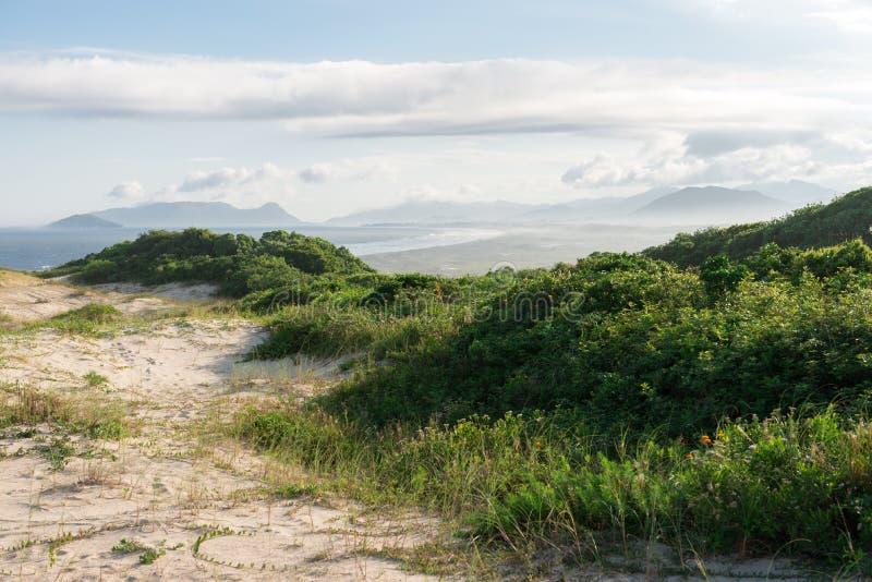 Joaquina beach in Florianopolis, Santa Catarina, Brazil. One of the main tourists destination in south region stock photo